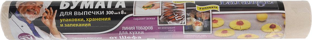 Бумага для выпечки LarangE От Шефа, 30 см х 8 м625-122Бумага LarangE От Шефа, выполненная из 100% целлюлозы, предназначена для выпекания вдуховке кондитерских и хлебобулочных изделий,а также для хранения жиросодержащихпродуктов. Она позволят готовить безиспользования маргарина и жира, способствуетсохранению как вкусовых, так и полезныхсвойств мучных изделий.Изделие можно использовать при температуредо 220°С и не допускать прямого контакта соткрытым пламенем и стенками духовки.Размер: 30 смх 8 м.