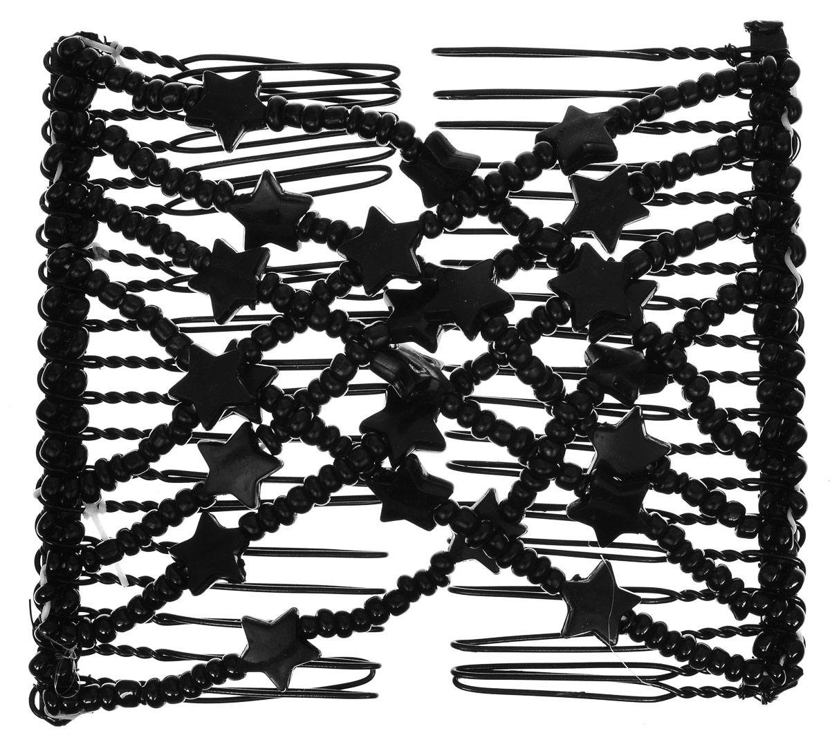 EZ-Combs Заколка Изи-Комбс, одинарная, цвет: черный. ЗИО_звездыSatin Hair 7 BR730MNУдобная и практичная EZ-Combs подходит для любого типа волос: тонких, жестких, вьющихся или прямых, и не наносит им никакого вреда. Заколка не мешает движениям головы и не создает дискомфорта, когда вы отдыхаете или управляете автомобилем. Каждый гребень имеет по 20 зубьев для надежной фиксации заколки на волосах! И даже во время бега и интенсивных тренировок в спортзале EZ-Combs не падает; она прочно фиксирует прическу, сохраняя укладку в первозданном виде.Небольшая и легкая заколка для волос EZ-Combs поместится в любой дамской сумочке, позволяя быстро и без особых усилий создавать неповторимые прически там, где вам это удобно. Гребень прекрасно сочетается с любой одеждой: будь это классический или спортивный стиль, завершая гармоничный облик современной леди. И неважно, какой образ жизни вы ведете, если у вас есть EZ-Combs, вы всегда будете выглядеть потрясающе.