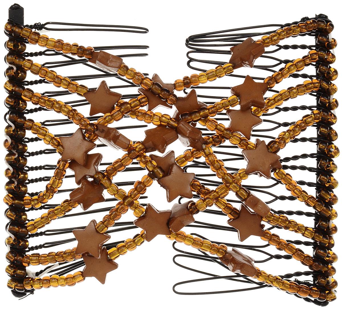 EZ-Combs Заколка Изи-Комбс, одинарная, цвет: коричневый. ЗИО_звездыSatin Hair 7 BR730MNУдобная и практичная EZ-Combs подходит для любого типа волос: тонких, жестких, вьющихся или прямых, и не наносит им никакого вреда. Заколка не мешает движениям головы и не создает дискомфорта, когда вы отдыхаете или управляете автомобилем. Каждый гребень имеет по 20 зубьев для надежной фиксации заколки на волосах! И даже во время бега и интенсивных тренировок в спортзале EZ-Combs не падает; она прочно фиксирует прическу, сохраняя укладку в первозданном виде.Небольшая и легкая заколка для волос EZ-Combs поместится в любой дамской сумочке, позволяя быстро и без особых усилий создавать неповторимые прически там, где вам это удобно. Гребень прекрасно сочетается с любой одеждой: будь это классический или спортивный стиль, завершая гармоничный облик современной леди. И неважно, какой образ жизни вы ведете, если у вас есть EZ-Combs, вы всегда будете выглядеть потрясающе.