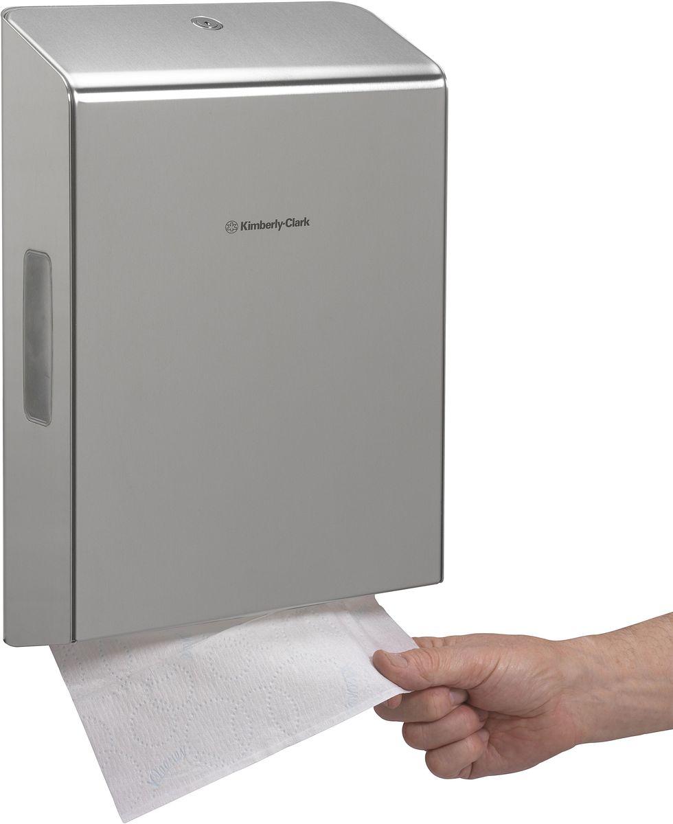 Диспенсер Kimberly-Clark Professional, для сложенных бумажных полотенец. 725968/5/3Новый диспенсер KIMBERLY-CLARK PROFESSIONAL® пополнит линейку эксклюзивных нержавеющих диспенсеров. Премиальный диспенсер, подходящий под любой интерьер. Диспенсер выполнен из высококачественной нержавеющей стали 2 мм (марка 304 - высокое сопротивление коррозии/окислению). Запирается на ключ, имеет окно для контроля над наличием расходного материала. Оснащен внутренним стабилизатором зажима для фиксации положения расходного материала, что исключит некорректность подаваемых полотенец. Продукция сертифицирована и имеет стандарты качества ISO9001 и ISO14001. Совместим с полотенцами: 1890, 4375, 4632.