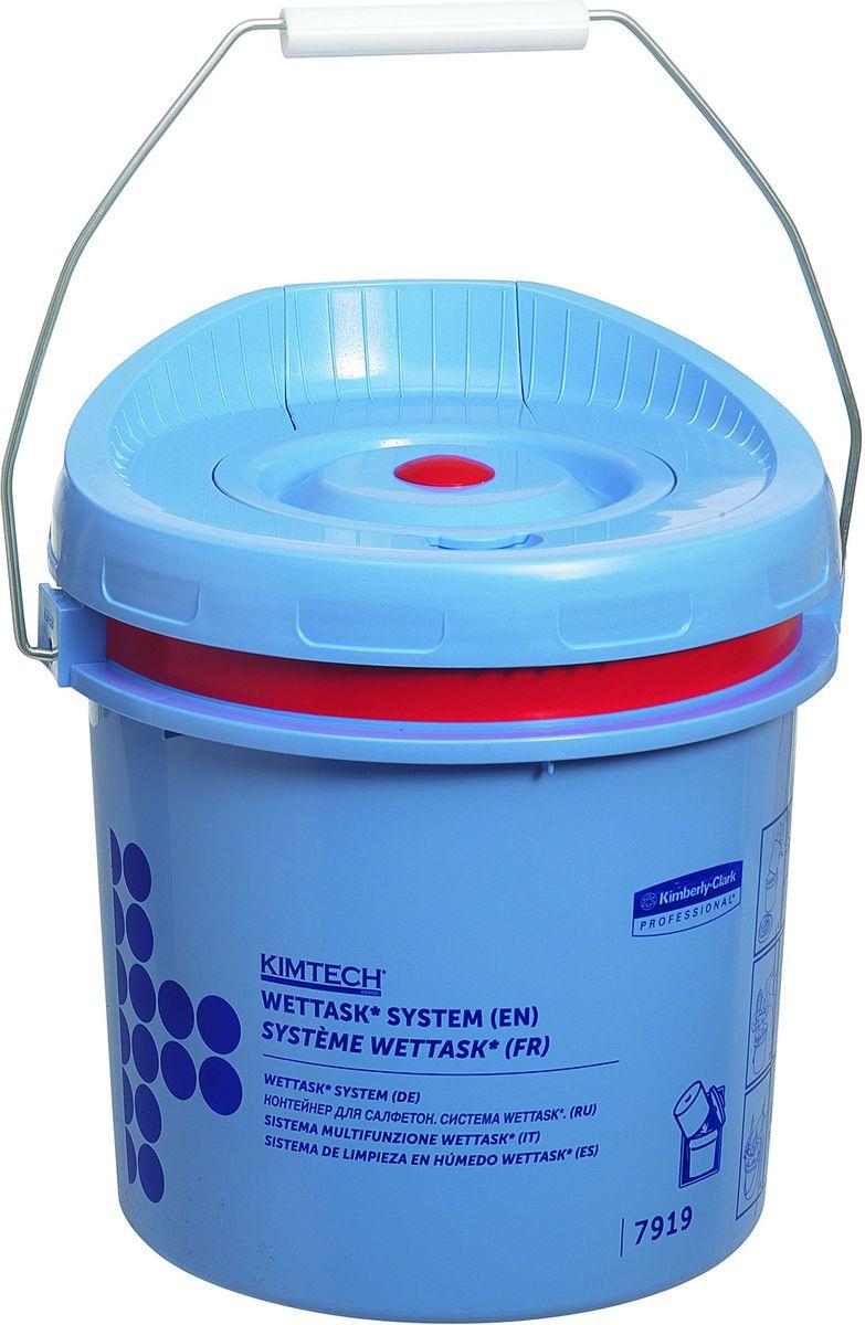 Диспенсер для протирочного материала Kimtech WetTask, рулон, цвет: синий. 791968/5/3Заправляемая, герметичная система очистки на основе предварительно пропитанных салфеток помогает снизить затраты на растворители и дезинфицирующие средства, повышает уровень безопасности за счет предотвращения разливов. Подходит для салфеток 38665 , 38667 , 7762 , 7764 , 7767.
