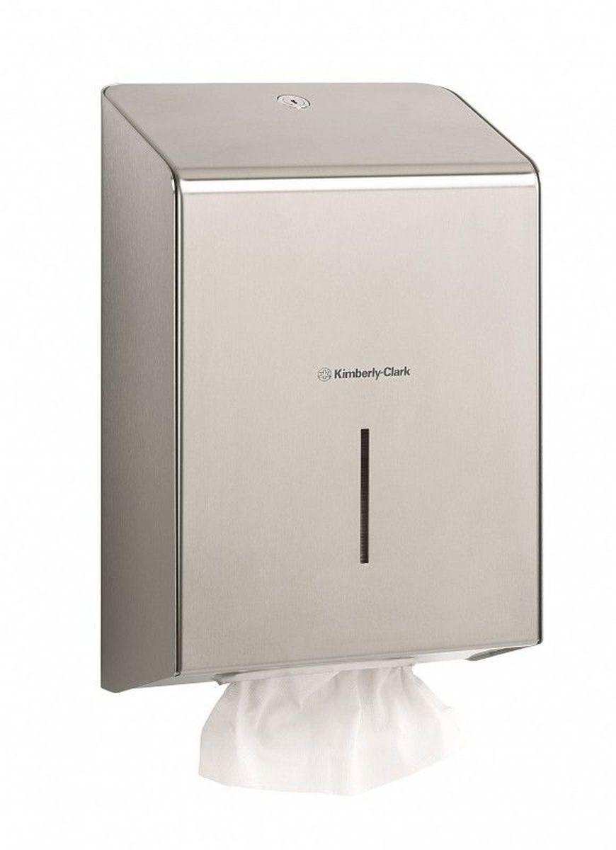 Диспенсер Kimberly-Clark Professional, для сложенных бумажных полотенец. 8971391602Ассортимент профессиональных диспенсеров для сложенных бумажных полотенец для рук с выдачей по одному листу из премиальной линейки металлических диспенсеров для туалетных комнат Kimberly-Clark Professional. Диспенсеры мотивируют сотрудников соблюдать гигиенические нормы, повышают уровень комфорта, демонстрируют заботу о персонале и помогают сократить расходы. Идеальное решение, обеспечивающее подачу по одному листу полотенец для рук без прикосновения к диспенсеру или следующему полотенцу. Мотивирует посетителей соблюдать гигиенические нормы, помогает исключить риск перекрестного загрязнения и предотвратить распространение бактерий, обеспечивает экономию средств в зонах с высокой проходимостью, отличается простотой обслуживания. Диспенсер имеет окно для контроля за остатком расходного материала, выполнен из 2 мм нержавеющей стали с обработанными краями для большей безопасности при заправке расходных материалов. Может запираться на ключ. Формат поставки: элегантный диспенсер; надежное крепление, корпус выполнен из нержавеющей стали. Совместим с полотенцами: 6633, 6663, 6664, 6669, 6677, 6682, 6689, 6771, 6777, 6789.