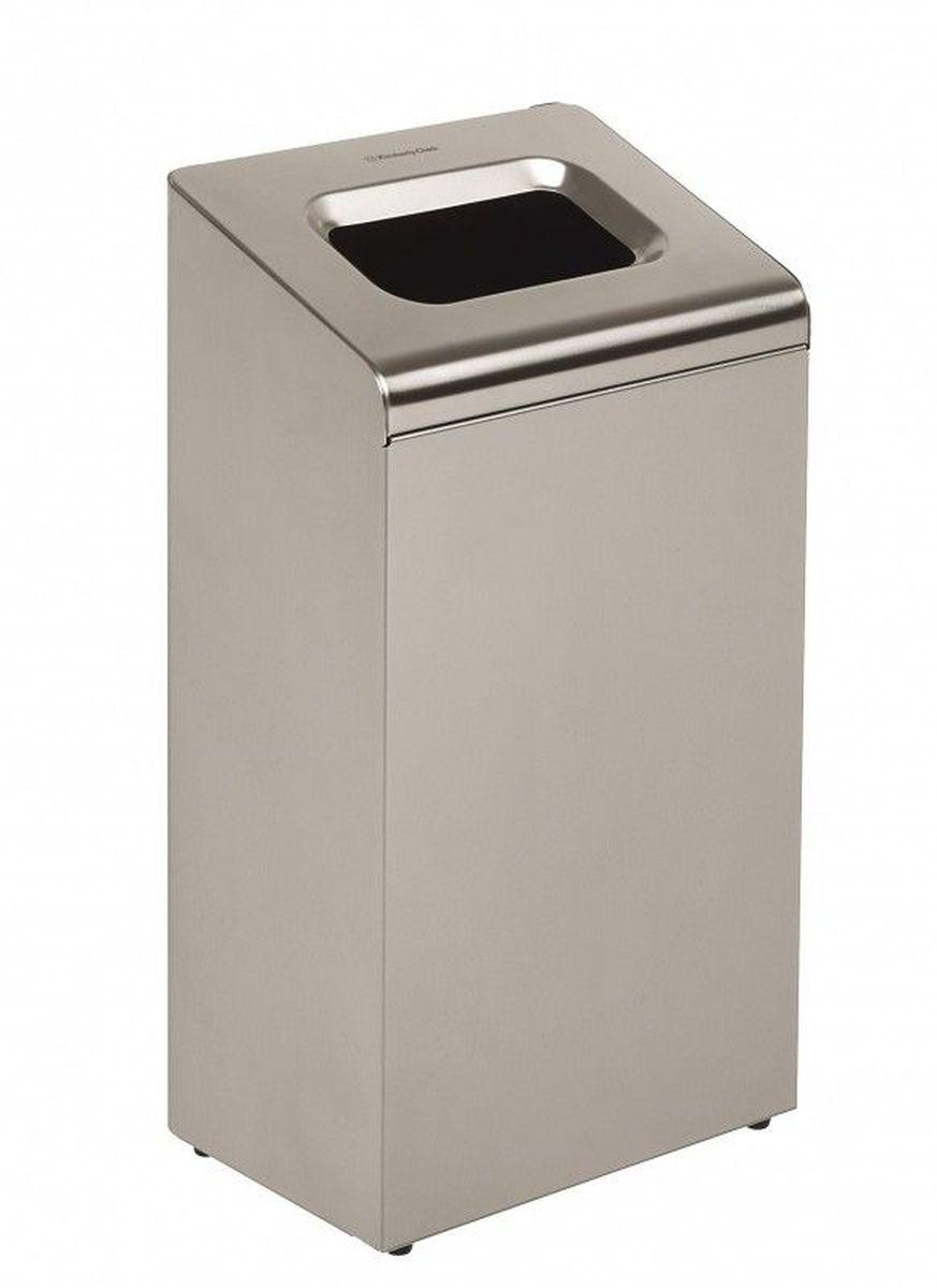 Контейнер для мусора Kimberly-Clark Professional, цвет: металлический, средний. 8975531-105Корзина для мусора из нержавеющей стали из премиальной серии KIMBERLY-CLARK PROFESSIONAL® предназначена для отелей, офисов и учреждений с высоким уровнем требований как к гигиене, так и к интерьеру. Данная модель отлично вписывается и дополняет профессиональную линейку диспенсеров из 2мм нержавеющей стали KIMBERLY-CLARK PROFESSIONAL®. Удобная система открытия крышки мусорной корзины для смены мешка для мусора. Объем корзины 80 литров. Формат поставки: 1 мусорная корзина из нержавеющей стали.