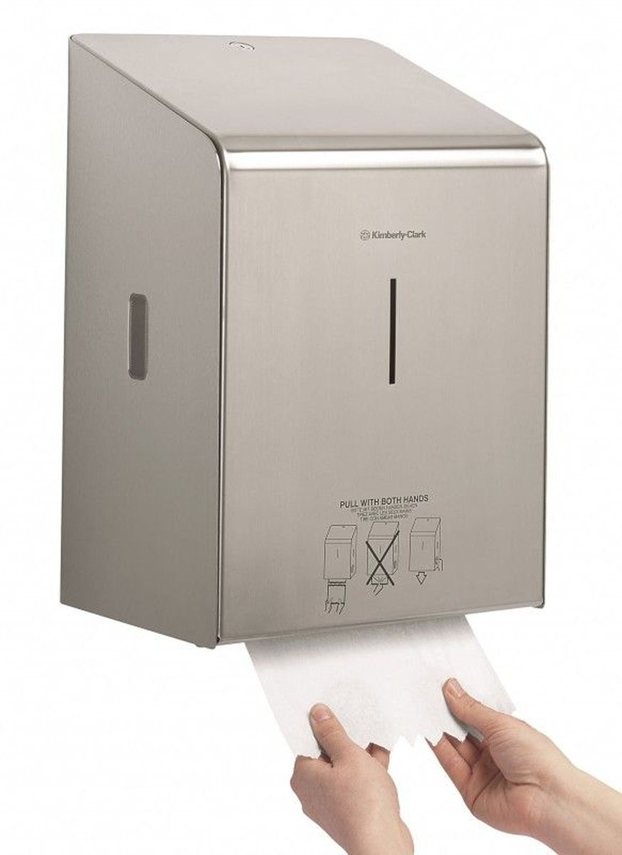 Диспенсер для бумажных полотенец Kimberly-Clark Professional, рулон. 8976531-105Ассортимент диспенсеров для рулонных бумажных полотенец для рук с выдачей по одному листу из премиальной линейки металлических диспенсеров для туалетных комнат Kimberly-Clark Professional. Диспенсеры мотивируют сотрудников соблюдать гигиенические нормы, повышают уровень комфорта, демонстрируют заботу о персонале и помогают сократить расходы. Идеальное решение, обеспечивающее подачу по одному листу полотенец для рук с зигзагообразным срезом, добавляет элемент роскоши в интерьер туалетных комнат, может использоваться в туалетных комнатах офисов и гостиниц с высокими требованиями к интерьеру, обеспечивает экономию средств и отличается простотой обслуживания.Диспенсер имеет окно для контроля за остатком расходного материала, выполнен из 2мм нержавеющей стали с обработанными краями для большей безопасности при заправке расходных материалов. Может запираться на ключ. Длина листа - 30 см.Формат поставки: элегантный диспенсер; надежное крепление, корпус выполнен из нержавеющей стали.