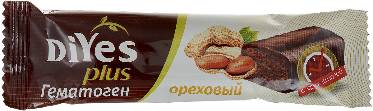 DiYes Plus Гематоген Ореховый с фруктозой, 35 г0120710DiYes Plus производится на основе тщательно отобранных ингредиентов и содержит комплекс из 7 витаминов и минералов. В отличии от привычного гематогена, текстура DiYes Plus более мягкая и нежная, не имеет металлического послевкусия. Придется по вкусу ребенку и станет полезной альтернативой обычному шоколадному батончику.Уважаемые клиенты! Обращаем ваше внимание, что полный перечень состава продукта представлен на дополнительном изображении.