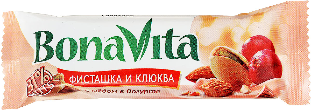 Bona Vita Батончик ореховый Фисташка, клюква и мед в йогурте, 35 г