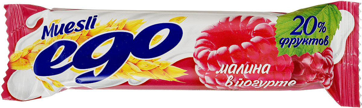 Ego Батончик мюсли со вкусом Малина в йогурте, 25 г0120710Батончики мюсли Ego - это новое поколение диетических продуктов, концентрированный набор крупноволокнистой пищи, витаминов и микроэлементов. Они изготавливаются из пшеничных и овсяных хлопьев, экструдированной кукурузы и риса, различных фруктов, семян подсолнечника, орехов и мальтозного сиропа. Прекрасно подходят для диетического питания.Уважаемые клиенты! Обращаем ваше внимание, что полный перечень состава продукта представлен на дополнительном изображении.