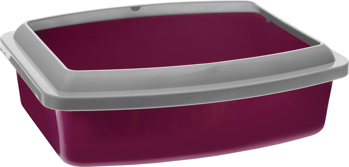 Туалет для кошек Savic Oval Trays, с бортом, цвет: светло-серый, фиолетовый, 47 х 39 x 14,5 см fullips увеличитель губ small oval