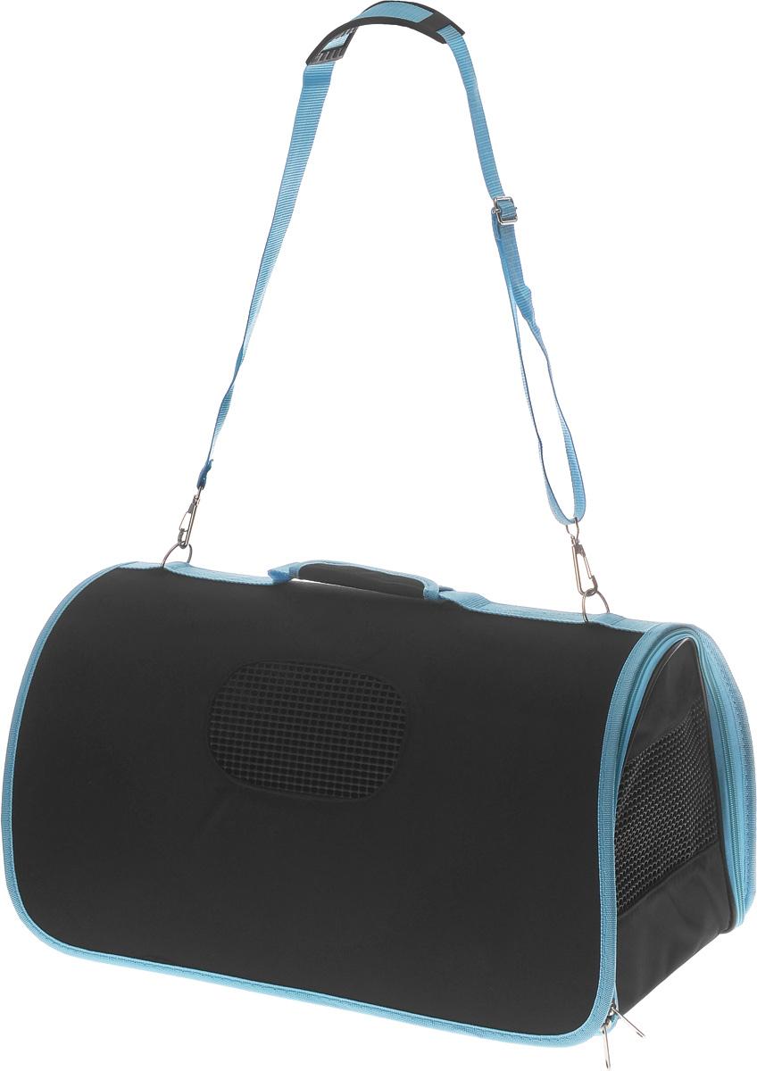 Сумка-переноска для животных Каскад, складная, цвет: черный, голубой, 50 х 26 х 27 см сумка переноска каскад collection с белыми буквами цвет черный 38х17 см
