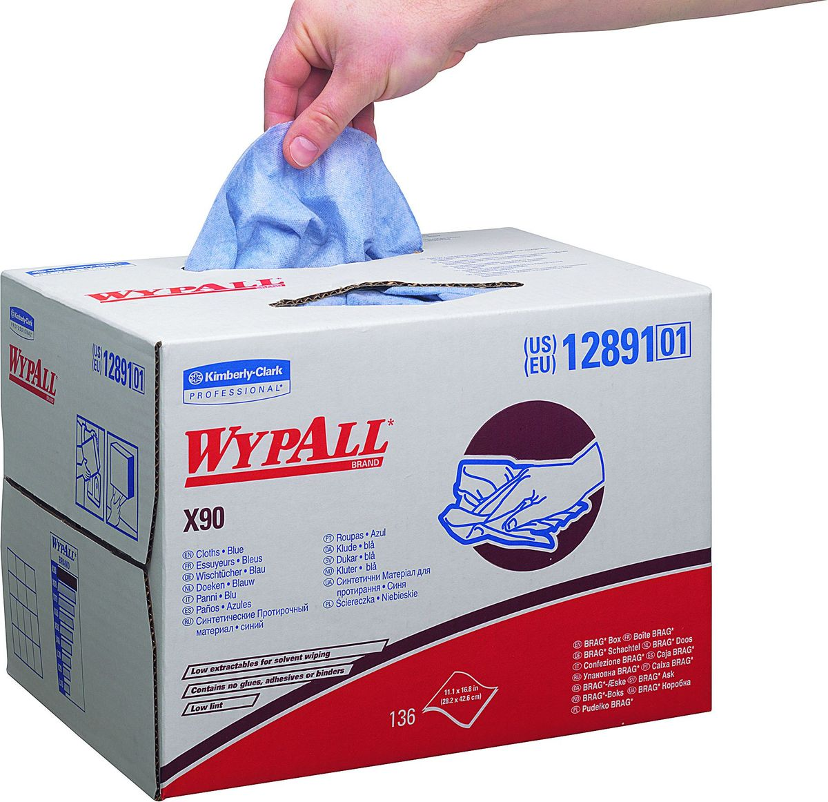 Салфетки бумажные Wypall Х90, 152 шт. 12891787502Бумажные салфетки Wypall Х90, изготовленные из целлюлозы и синтетики, обладают отличной впитывающей способностью, долговечностью и прочностью, как в сухом, так и во влажном состоянии. Салфетки могут использоваться с большинством растворителей, обеспечивают быструю очистку и помогают сократить расходы. Подходят для работы по очистке от клея, масла, мусора, стекол, а также для прецизионной очистки сложных механизмов и деталей. Салфетки Wypall Х90 могут использоваться с переносными или стационарными диспенсерами для контроля расхода продукта и уменьшения объема отходов.