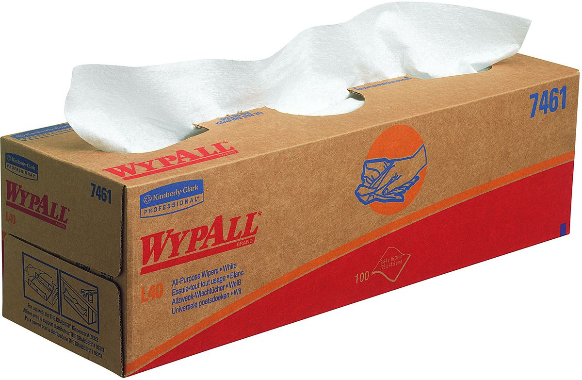 Полотенца бумажные Wypall L40, 8 коробок х 100 шт. 7461TB 08Бумажные полотенца Wypall L40, произведенные при помощи технологии AIRFLEX®, обладают отличной впитывающей способностью, долговечностью и прочностью, как в сухом, так и во влажном состоянии. Подходят для работы по очистки технологических линий, быстрого устранения крупных разливов масла, смазки, протирки рук и лица пациентов в медицинских учреждениях, а также помогают предотвратить распространение бактерий. Полотенца Wypall L40 могут использоваться с переносными или стационарными диспенсерами для контроля расхода продукта и уменьшения объема отходов.Количество: 8 коробок по 100 бумажных полотенец.
