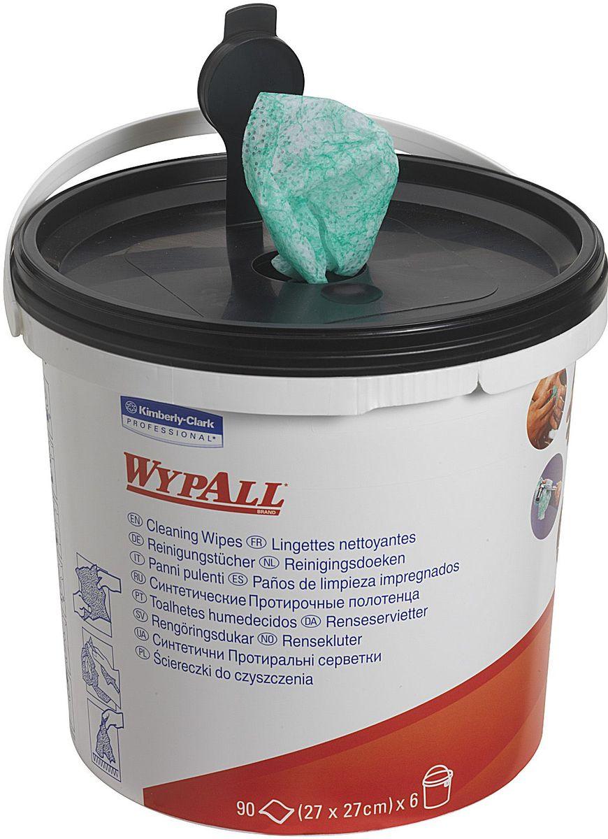 Салфетки абразивные Wypall, с пропиткой, 90 шт. 7775391602Абразивные влажные салфетки Wypall обеспечивают очистку рук, инструментов, узлов агрегатов без использования мыла, гелей и воды. Не раздражают и не высушивают кожу рук, а также повышают уровень гигиены. Одна сторона салфеток с шероховатой поверхностью - для удаления грязи, вторая - с гладкой поверхностью - для очистки и окончательной отделки.Размер салфетки; 27 х 27 см.