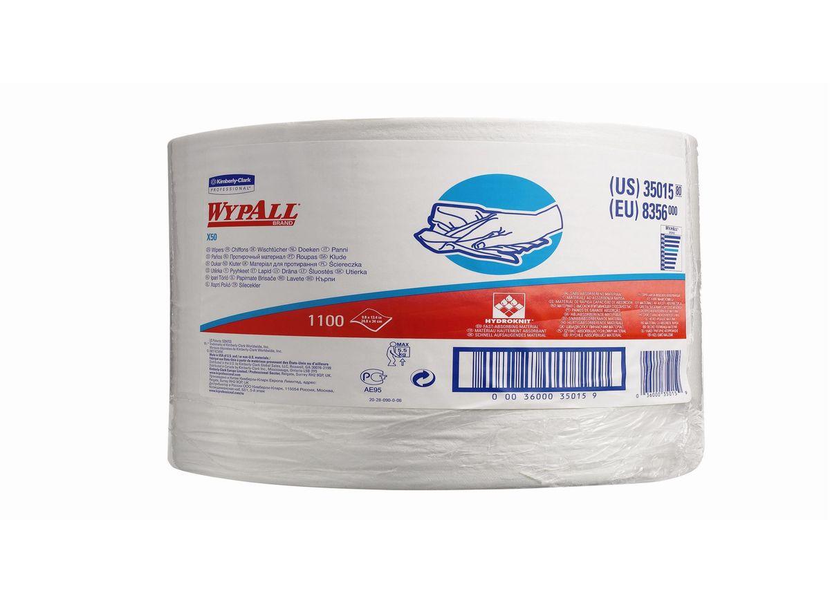 Полотенца бумажные Wypall Х50, 1100 шт. 8356C0042416Полотенца бумажные Wypall Х50 обладают отличной впитывающей способностью, долговечностью и прочностью, как в сухом, так и во влажном состоянии. Такие полотенца можно использоваться с большинством растворителей, они обеспечивают быструю очистку и помогают сократить расходы. Подходят для работы по очистке от клея, масла, мусора, стекол, а также для прецизионной очистки сложных механизмов и деталей.