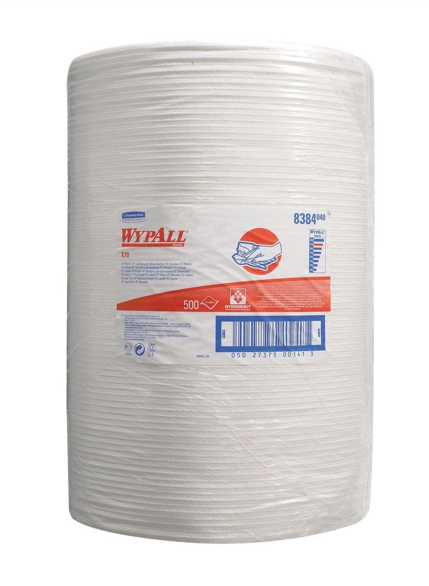 Полотенца бумажные Wypall Х70, 500 шт. 8384787502Полотенца Wypall Х70 отличной впитывающей способностью, долговечностью и прочностью, как в сухом, так и во влажном состоянии. Подходят для работы по очистке от клея, масла, мусора, стекол, а также для прецизионной очистки сложных механизмов и деталей. Полотенца Wypall Х70 могут использоваться с переносными или стационарными диспенсерами для контроля расхода продукта и уменьшения объема отходов.