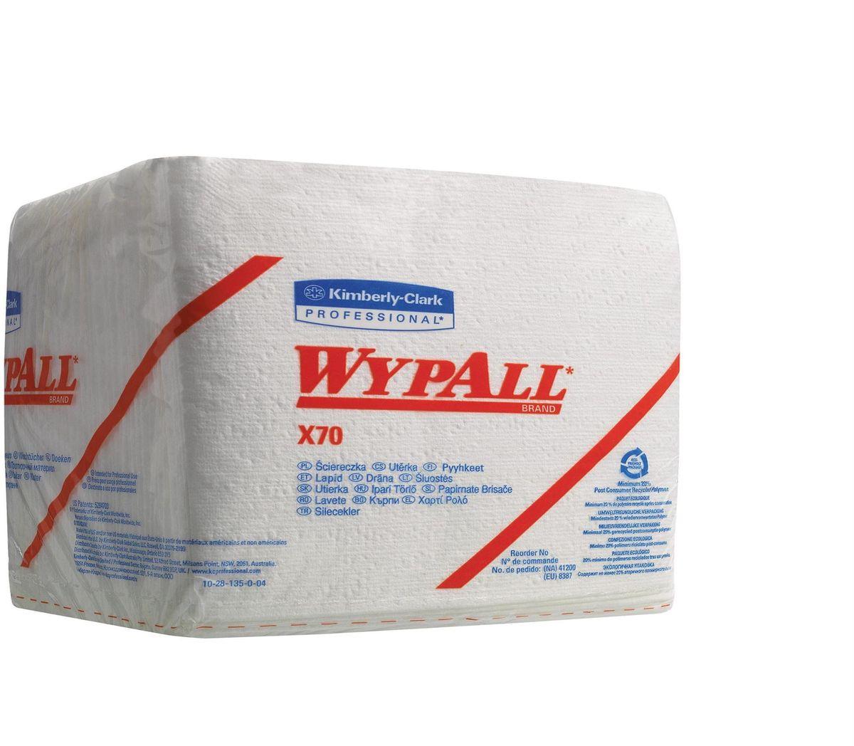 Салфетки бумажные Wypall Х70, 152 штS28 DCБумажные салфетки Wypall Х70 обладают отличной впитывающей способностью, долговечностью и прочностью, как в сухом, так и во влажном состоянии. Подходят для работы по очистке от клея, масла, мусора, стекол, а также для прецизионной очистки сложных механизмов и деталей. Салфетки Wypall Х70 могут использоваться с переносными или стационарными диспенсерами для контроля расхода продукта и уменьшения объема отходов.