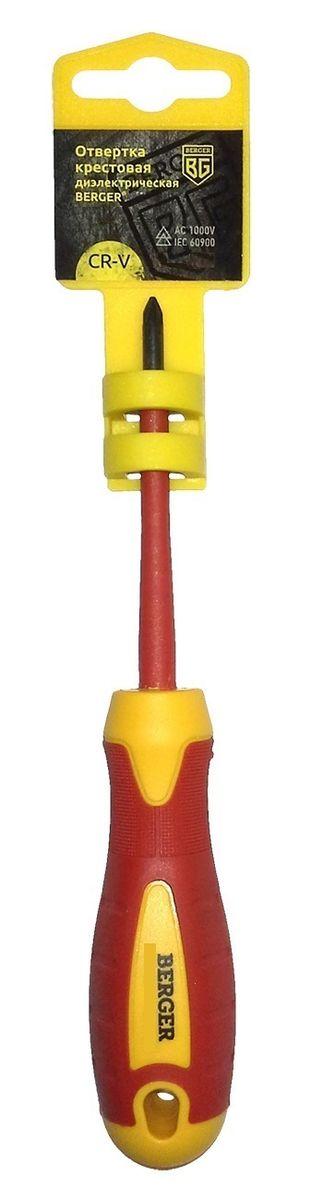 Отвертка крестовая Berger, диэлектрическая, PH2 x 100 мм. BG1057CA-3505Отвертка на пластиковом держателе. Изготовлена из прочной и качественной хром-ванадиевой стали (CR-V). Двухкомпонентная рукоятка не позволяет отвертке выскальзывать при работе из рук. Инструмент выполнен из токонепроводящих материалов, что позволяет использовать его для работ с высоким напряжением до 1000V. Соответствует IEC 60900.