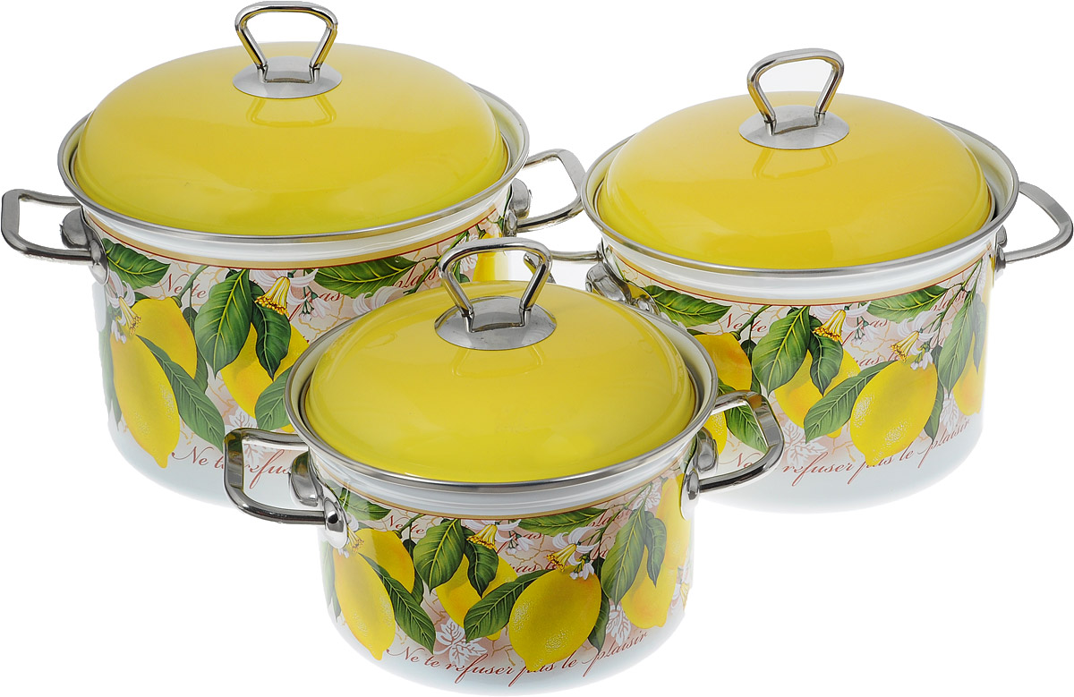 Набор кастрюль Elros Lemon с крышками, 6 предметов111Набор кастрюль Elros Lemon состоит из трех кастрюль с крышками, изготовленных из высококачественной стали с эмалированным покрытием. Эмалированное покрытие славится своей безопасностью и добротностью. Эмалевое покрытие, являясь стекольной массой, не вызывает аллергии и надежно защищает пищу от контакта с металлом. Внутренняя поверхность идеально ровная, что значительно облегчает мытье. Покрытие устойчиво к механическому воздействию, не царапается и не сходит, а стальная основа практически не подвержена механической деформации, благодаря чему срок эксплуатации увеличивается. Кастрюли оснащены крышками, выполненными из стали с эмалированным покрытием. Крышки плотно прилегают к краям кастрюль, предотвращая проливание жидкости и сохраняя аромат блюд. Кастрюли оформлены красочным изображением. Подходят для газовых, электрических и стеклокерамических плит, включая индукционные. Можно мыть в посудомоечной машине. Высота стенок кастрюль: 10,8 см; 13,2 см; 15 см.Диаметр кастрюль (по верхнему краю): 18 см; 20 см; 22 см.Ширина кастрюль (с учетом ручек): 24 см; 26 см; 28 см. Объем кастрюль: 2 л; 3 л; 4,5 л.
