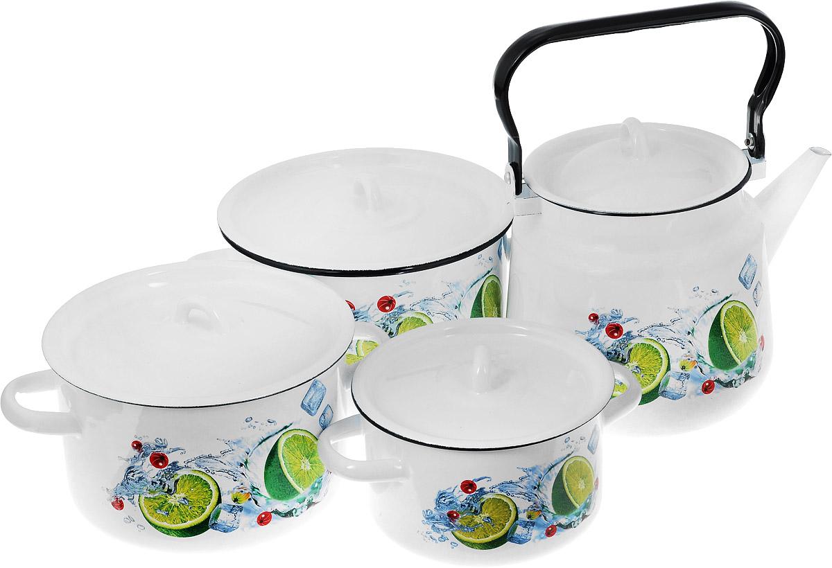 Набор посуды СтальЭмаль Мохито, 7 предметов115510Набор посуды СтальЭмаль Мохито состоит из 3 кастрюль разного объема, 3 крышек и чайника. Изделия выполнены из качественной эмалированной стали. Эмаль защищает сталь от коррозии, придает посуде гладкую поверхность и надежно защищает от кислот и щелочей. Эмаль устойчива к пищевым кислотам, не вступает во взаимодействие с продуктами и не искажает их вкусовые качества. Прочный стальной корпус обеспечивает эффективную тепловую обработку пищевых продуктов и не деформируется в процессе эксплуатации. Внешняя поверхность изделий оформлена красочным изображением. Кастрюли и чайник снабжены стальными крышками. Чайник имеет прочную подвижную ручку. Посуда подходит для газовых, электрических, стеклокерамических, индукционных плит, а также для духовки. Можно мыть в посудомоечной машине. Объем кастрюль: 1,5 л; 2,9 л; 3,9 л. Диаметр кастрюль (по верхнему краю): 16 см; 19 см; 21 см. Ширина кастрюль (с учетом ручек): 21 см; 25 см; 28 см. Высота стенки кастрюль: 10 см; 12 см; 13 см. Объем чайника: 3,5 л. Высота чайника (без учета крышки и ручки): 17 см. Диаметр чайника (по верхнему краю): 15 см.