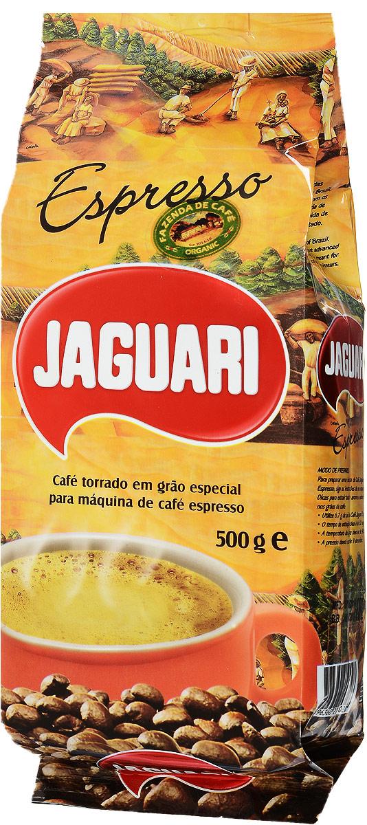 Jaguari Espresso кофе в зернах, 500 г0120710Jaguari Espresso - натуральный зерновой кофе средней обжарки. Напиток обладает, прекрасным ароматом, оригинальным мягким вкусом с шоколадными нотками и умеренной сладостью. Упакован в пакет с клапаном для более длительного хранения, надежно сохраняет вкус и аромат в течении года.Кофе произведен и упакован в Бразилии. Согласно всем международным стандартам имеет категорию Высшее качество. Идеально подходит для приготовления дома и в офисе, для кафе, баров и в ресторанах.