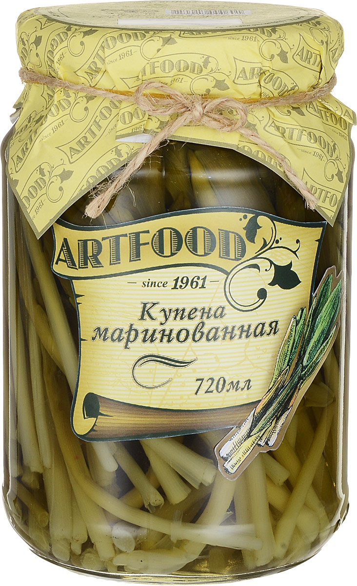 Artfood купена маринованная, 670 г0120710Купена представляет собой многолетнее растение, целительные свойства которого известны с давних времен. Растение является разновидностью семейства спаржевых, благодаря чему вы можете добавлять маринованную купену в салаты или есть отдельно.