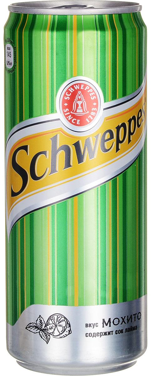 Schweppes Мохито напиток сильногазированный, 0,33 л0120710Schweppes Мохито - освежающий напиток со вкусом лайма и мяты с традиционной для Schweppes горчинкой. Это изысканный продукт, пополнивший портфель бренда Schweppes в 2015 году.Уважаемые клиенты! Обращаем ваше внимание на то, что упаковка может иметь несколько видов дизайна. Поставка осуществляется в зависимости от наличия на складе.Уважаемые клиенты! Обращаем ваше внимание, что полный перечень состава продукта представлен на дополнительном изображении.
