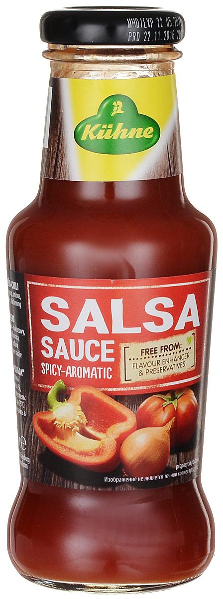 Kuhne Spicy Sauce Salsa соус томатный сальса, 250 г00000040297Большое количество спелых томатов в сочетании со стручковым перцем халапеньо и специями придают соусу типичный мексиканский вкус. Умеренно острый соус Сальса хорошо сочетается с мясом и овощами.