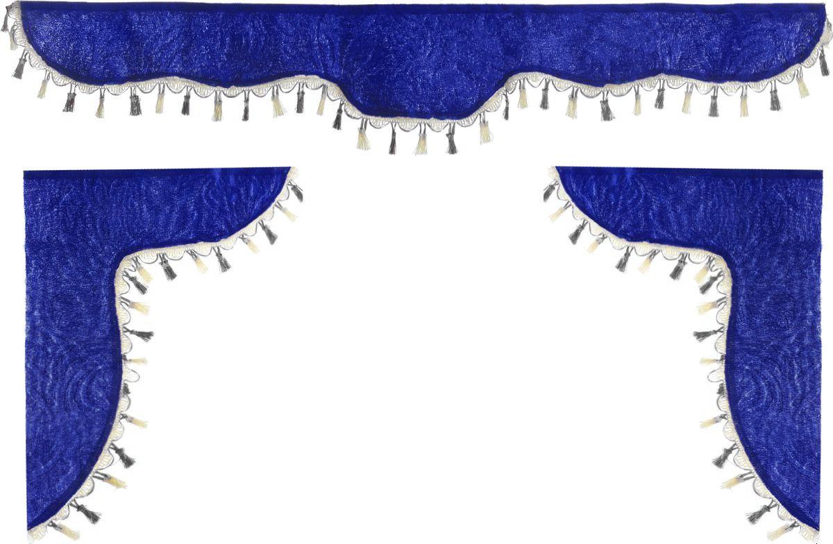 Ламбрекен для автомобильных штор Главдор, на Газель и микроавтобусы, цвет: синий, черный, молочныйВетерок 2ГФЛамбрекен для автомобильных штор Главдор изготовлен из бархатистого текстиля и декорирован кисточками по всей длине. Ламбрекен фиксируется при помощи липучек в верхней области лобового стекла и по сторонам боковых стекол. Такой аксессуар защитит от солнечных лучей и добавит уюта в интерьер салона. Размер ламбрекена на лобовое стекло: 140 х 20 см. Размер ламбрекена на боковое стекло: 60 х 45 см.