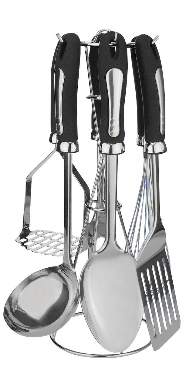 Набор кухонных принадлежностей Bohmann, 7 предметов. 7789BH/NEW54 009305Набор кухонных принадлежностей Bohmann станет отличным дополнением к комплекту кухонной утвари. Приборы удобны и функциональны в применении, используются для переворачивания кусков мяса, рыбы и овощей во время жарки, разливания супов и бульонов, съема пены, приготовления пюре, раскладывания общих блюд по порционным тарелкам, приготовления кремов и омлетов и т.д. Кухонные принадлежности выполнены из высококачественной нержавеющей стали. Изделия имеют не нагревающиеся ручки. Можно мыть в посудомоечной машине.