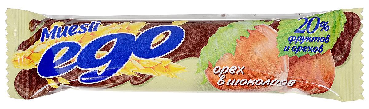 Ego Батончик мюсли со вкусом Орех в шоколаде, 25 г4607061252308Батончики мюсли Ego - это новое поколение диетических продуктов, концентрированный набор крупноволокнистой пищи, витаминов и микроэлементов. Они изготавливаются из пшеничных и овсяных хлопьев, экструдированной кукурузы и риса, различных фруктов, семян подсолнечника, орехов и мальтозного сиропа. Прекрасно подходят для диетического питания.Уважаемые клиенты! Обращаем ваше внимание, что полный перечень состава продукта представлен на дополнительном изображении.