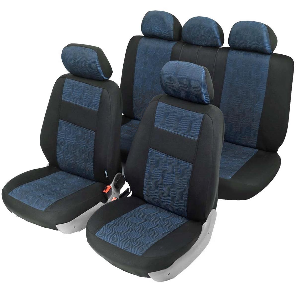 Чехлы автомобильные универсальные Senator Arizona, с карманом, цвет: черный, синий, 6 молний, 11 предметов. Размер MS1010231Универсальные классические чехлы Senator Arizona выполнены из сверхпрочного жаккарда. Применимы для 95% легкового автопарка РФ. Благодаря особому крою типа В чехлы идеально облегают сидения автомобиля. Специальный боковой шов позволяет применять авто чехлы в автомобилях с боковыми подушками безопасности (AIR BAG). Раздельная схема надевания обеспечивает легкую установку чехлов. Дополнительное удобство создает наличие предустановленных крючков, утягивающего шнура, фиксирующей липучки на передних спинках, а также предустановленной прорези для установки подголовника. Материал триплирован огнеупорным поролоном толщиной 5 мм, за счет чего чехол приобретает дополнительную мягкость и устойчивость к возгоранию.Авточехлы Senator Arizona износоустойчивы и легко стираются в стиральной машине.