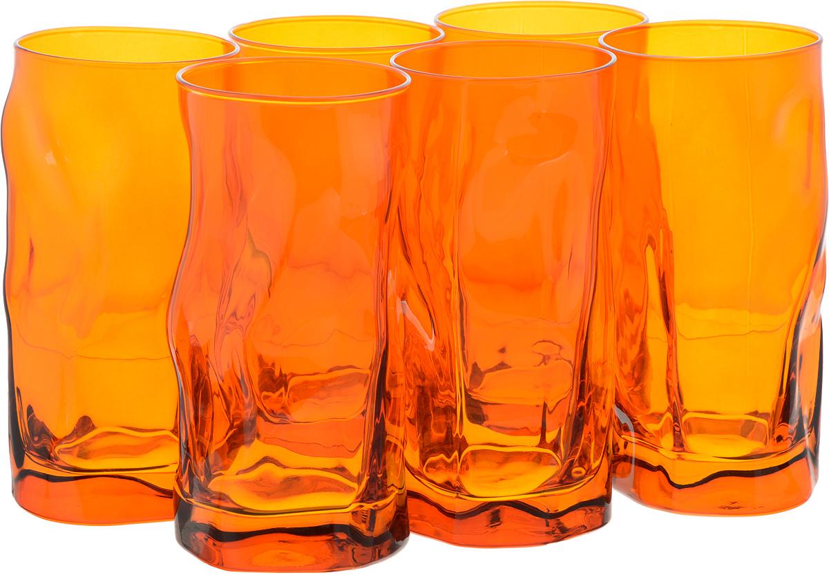 Набор стаканов Bormioli Rocco Сордженте, цвет: оранжевый, 6 штVT-1520(SR)Набор Bormioli Rocco Сордженте, выполненный из стекла, состоит из 6 высоких стаканов и предназначен для подачи холодных напитков. С внутренней стороны поверхность стаканов рельефная, что создает эффект игры и преломления. Набор стаканов Bormioli Rocco Сордженте станет идеальным украшением праздничного стола и отличным подарком к любому празднику.Объем стакана: 455 мл.Диаметр стакана по верхнему краю: 7 см.Высота стакана: 15,5 см.