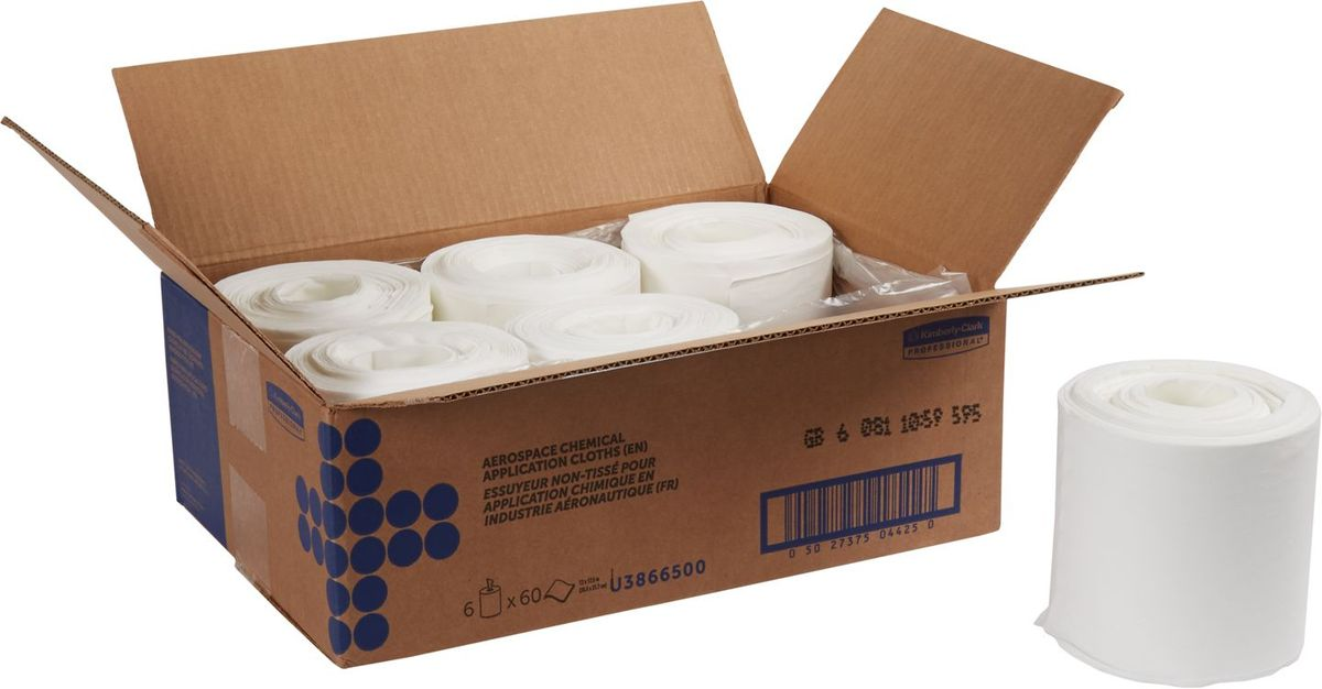 Полотенца бумажные Kimberly-Clark Professional, 6 рулонов. 38665787502Протирочный материал Kimberly-Clark Professional выполнен в виде бумажных полотенец и предназначен специально для аэрокосмической отрасли, а также рекомендован к использованию в таких отраслях как металлургическая, нефтеперерабатывающая, газовая промышленность и автомобилестроение.Продукция соответствует требованиям авиапроизводителей Boeing и Airbus, нормам AMS 3819C и BMS 15-5F. Полотенца могут быть использованы в системах для влажной уборки Kimberly-Clark 7919. В наборе: 6 рулонов. Количество листов в рулоне: 60 шт.