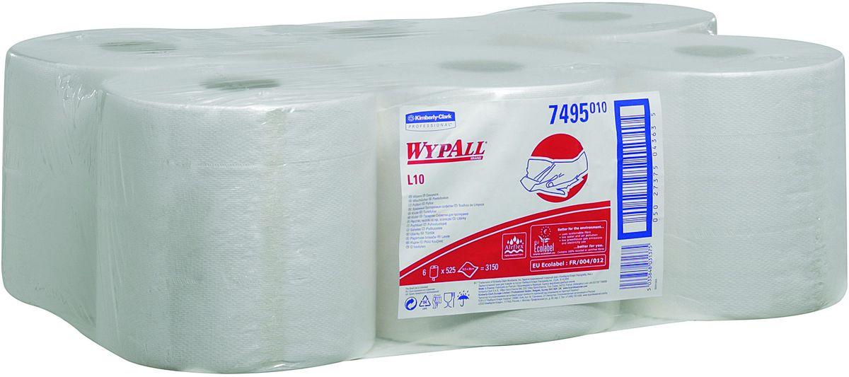 Полотенца бумажные Wypall L10, 6 рулонов. 749519201Бумажные полотенца Wypall L10 отличаются особенной прочностью и быстротой впитывания жидкостей. Они идеально подойдут для универсальных задач: сбора грязи, работы с маслом, протирки и впитывания жидкостей в пищевой промышленности, а также в автомобильной индустрии и многих других областей.В набор входит: 6 рулонов.Количество листов в рулоне: 525 шт.