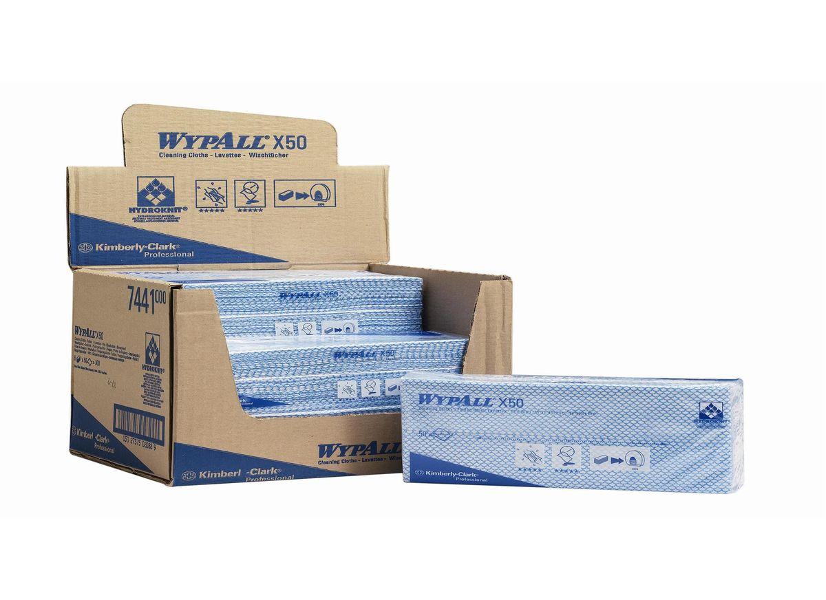 Салфетка протирочная Wypall Х50, 50 листов. 7441787502Салфетки Wypall Х50, выполненные из целлюлозы и синтетики, предназначены для многоразового использования, изготовленные по технологии HYDROKNIT®. Изделия обладают отличной впитывающей способностью, долговечностью и прочностью, как в сухом, так и во влажном состоянии. Салфетки Wypall Х50 - идеальное решение для гигиеничной уборки в туалетных комнатах, клинических помещениях и палатах пациентов, на кухнях и участках приготовления пищи. Салфетки допускают стирку и повторное использование, что уменьшает объем отходов и сокращает эксплуатационные затраты.Количество салфеток в 1 упаковке: 50 шт.