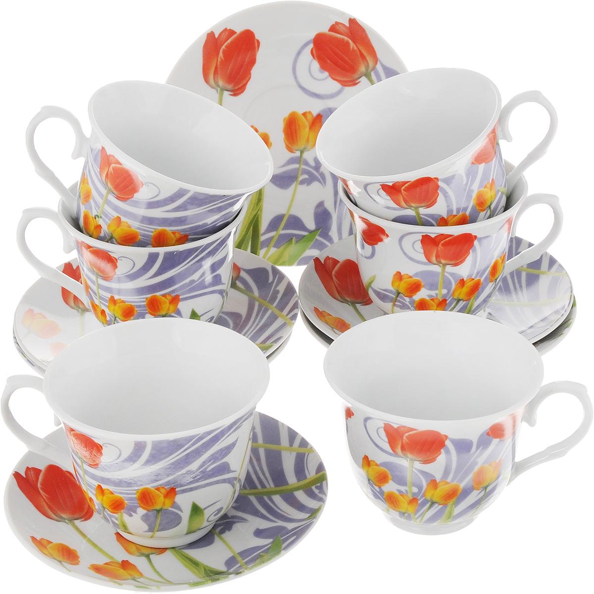 Набор чайный Bella Тюльпаны, 12 предметов115510Чайный набор Bella состоит из 6 чашек и 6 блюдец, изготовленных из высококачественного фарфора. Такой набор прекрасно дополнит сервировку стола к чаепитию, а также станет замечательным подарком для ваших друзей и близких. Объем чашки: 250 мл. Диаметр чашки (по верхнему краю): 9 см. Высота чашки: 7,5 см. Диаметр блюдца: 14 см.Высота блюдца: 1,8 см.