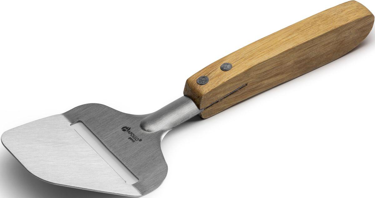 Сырорезка Apollo Genio WoodstockWDK-12Сырорезка Apollo Genio Woodstock с деревянной ручкой выполнена из нержавеющей стали. Очень удобная ручка не позволит выскользнуть сырорезке из вашей руки. Удобная сырорезка поможет Вам очень быстро и без особого усилия нарезать сыр ломтиками разной толщины.Изделие не окисляется и устойчиво к коррозии. Соответствует всем гигиеническим требованиям