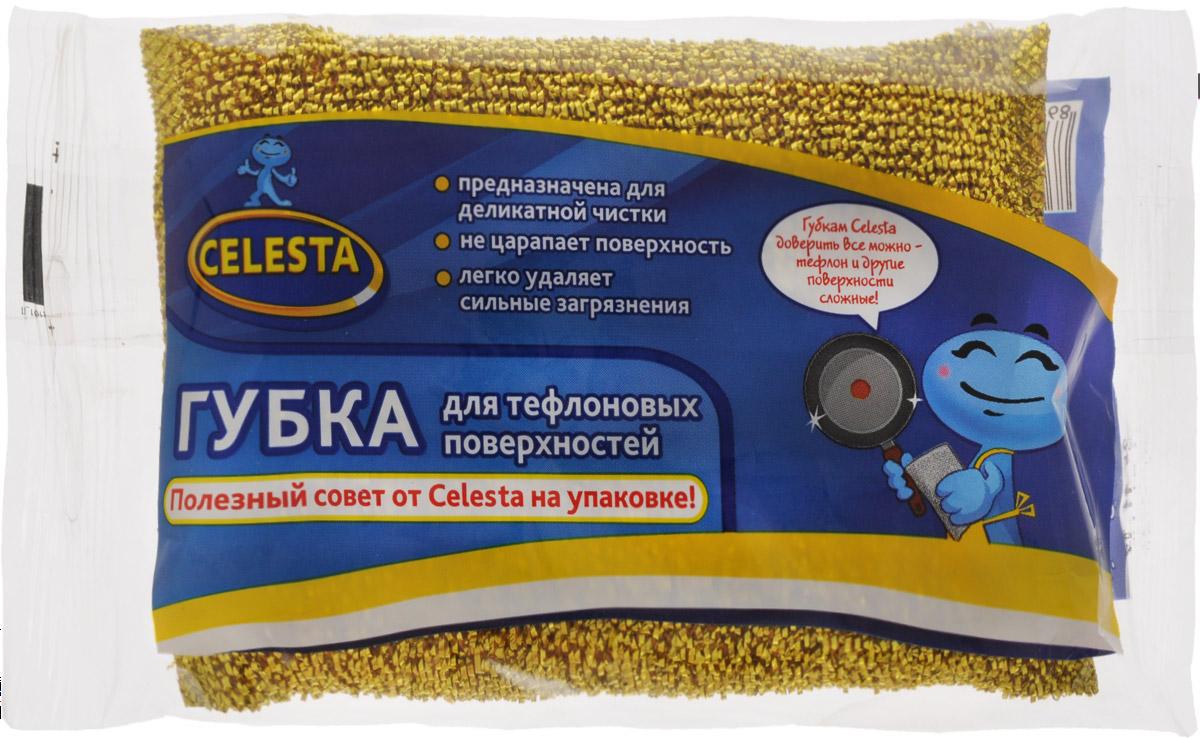 Губка для тефлоновых поверхностей Celesta, цвет: золотой787502Губка Celesta идеально подходит для мытья посуды с тефлоновым покрытием и других деликатных поверхностей. Отмывает посуду от сильных загрязнений. Может использоваться для чистки сантехники, кафеля, керамики, стекла и посуды из нержавеющей стали.