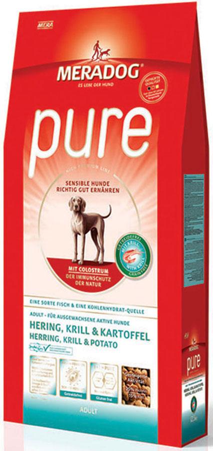 Корм сухой Meradog Pure Hering, Krill & Kartoffel, для взрослых собак с проблемами в питании/аллергиями, без злаков, с сельдью, крилем и картофелем, 300 г0120710Полнорационный корм для взрослых собак с проблемами в питании и/или аллергиями. Без злаков – с морской сельдью, антарктическим крилем и картофелем и концепция защиты от MERADOG:антиоксиданты (витамин C, Е, бета-каротин и селен) для оптимальной защиты клеток. Натуральные жирные кислоты Омега-3 и Омега-6 (криль, подсолнечное масло и масло льняных семян), а также хелат цинка для кожи и шерсти. Пребиотический инулин для стабильной кишечной флоры и надежного пищеварения. Необходимая энергетическая ценность, высококачественный животный белок (сельдь, криль) для поддержания оптимального телосложения и жизнеспособности. Идеален при многих видах пищевых аллергий: только один источник углеводов и только один вид рыбы. Криль, маннанолигосахариды и бета-глюканы для оптимальной иммунной защиты.