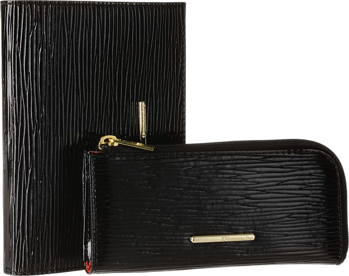 Набор подарочный женский Dimanche Nice, цвет: черный, красный. 389/740/745MX3024820_WM_SHL_010Изысканный набор Dimanche Nice состоит из обложки для паспорта и ключницы. Обе модели изготовлены из высококачественной натуральной лакированной кожи и исполнены в лаконичном стиле. Обложка для паспорта раскладывается пополам и декорирована металлической пластиной с логотипом бренда. Внутри - два прозрачных боковых кармана из пластика, которые обеспечат надежную фиксацию вашего документа. Модель с внутренней стороны отделана атласным текстилем. Ключница закрывается на молнию и украшена пластиной из металла с логотипом бренда. Внутри - кольцо для ключей на цепочке. Обратная сторона изделия дополнена карманом для мелочей на застежке-молнии. Оба изделия упакованы в стильную подарочную коробку. Роскошный набор Dimanche Nice подчеркнет вашу индивидуальность и безупречный вкус, а также станет замечательным подарком человеку, ценящему качественные и практичные вещи.