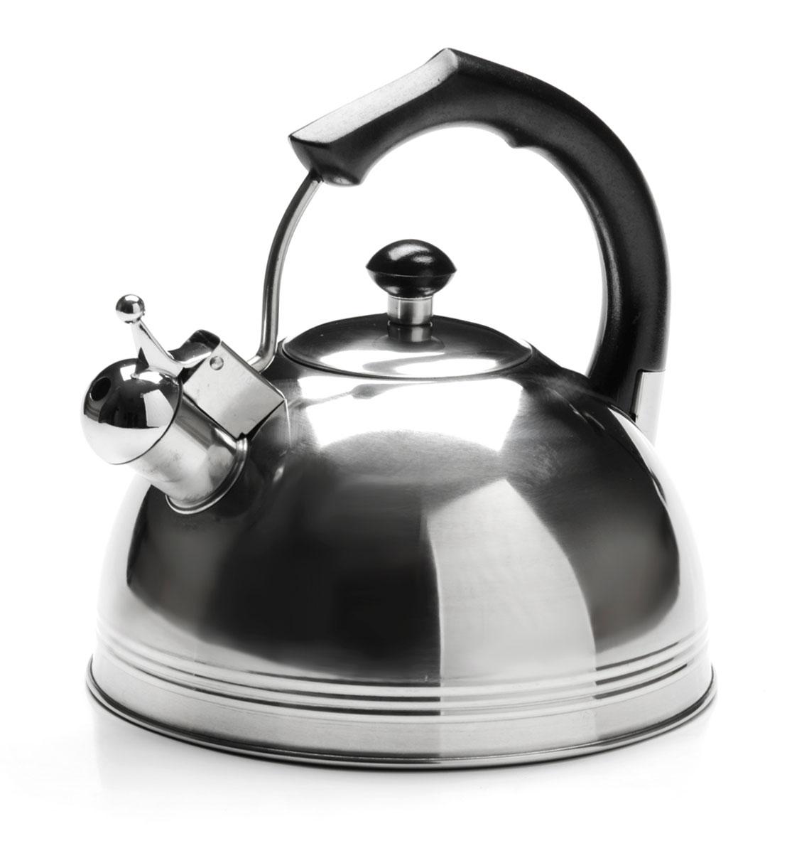 Чайник Mayer & Boch, со свистком, 4 л. 26166VT-1520(SR)Чайник изготовлен из высококачественной нержавеющей стали. Изделия из нержавеющей стали не окисляются и не впитывают запахи, благодаря чему вы всегда получите натуральный, насыщенный вкус и аромат напитков. Капсулированное дно с прослойкой из алюминия обеспечивает наилучшее распределение тепла. Эргономичная фиксированная ручка выполнена из нержавеющей стали и бакелита и стилизована под дерево. Носик чайника оснащен насадкой-свистком, который позволяет контролировать процесс кипячения или подогрева воды. Поверхность чайника гладкая, что облегчает уход за ним. Подходит для использования на всех типах плит, кроме индукционных. Подходит для мытья в посудомоечной машине.Объем чайника: 4 литра.