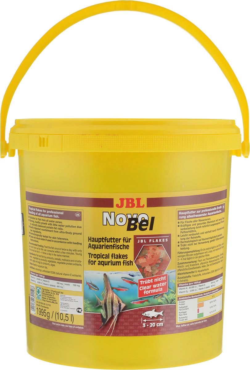 Корм JBL NovoBel для всех аквариумных рыб, в форме хлопьев, 1,995 кг (10,5 л)0120710JBL NovoBel - основной корм в форме хлопьев для всех аквариумных рыб. Корм содержит свыше 50 натуральных питательных веществ и 7 различных сортов хлопьев. Количество фосфатов точно рассчитано, чтобы работать на сокращение роста водорослей и способствовать росту рыб. Содержит витамин Е (в качестве антиоксиданта) и стабилизированный витамин С.Состав: протеин 43%, жир 8,3%, клетчатка 1,9%, чистая зола 8,1%.Содержание витаминов (на 1000 г): витамин А 25000 u.i, витамин D3 2000 u.i, витамин Е 330 мг, витамин С 400 мг, инозит 750 мг.Товар сертифицирован.
