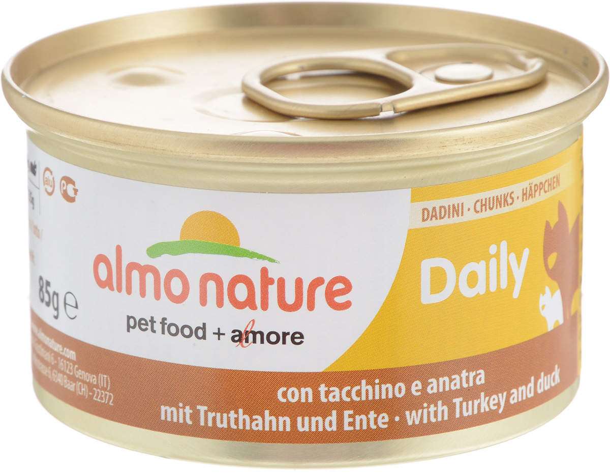 Консервы Almo Nature для кошек, с индейкой и уткой, 85 г0120710Консервы для кошек Almo Nature сохраняют свежесть каждого кусочка. Корм изготовлен только из свежих высококачественных натуральных ингредиентов, что обеспечивает здоровье вашей кошки. Не содержит ГМО, антибиотиков, химических добавок, консервантов и красителей.Состав: свежее мясо (из которого утка 4%, индейка 14%), минералы, сахар.Пищевые добавки: Витамин А мин. 1110 МЕ/кг, Витамин D3 140 МЕ/кг, Витамин Е 10 мг/кг, Таурин 410 мг/кг, Сульфат меди пентагидрат 4,4 мг/кг (Cu 1,1 мг/кг).Товар сертифицирован.