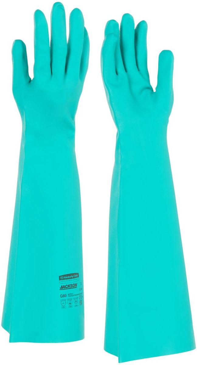 Перчатки хозяйственные Jackson Safety G80, размер 9 (L), цвет: зеленый, 12 парBG2014Ассортимент перчаток для защиты рук от химических веществ и механических воздействий - повышают безопасность работ и сокращают затраты. Удлиненные до 45 см перчатки являются СИЗ категории III (CE Complex), применяются в различных отраслях промышленности: нефтехимической, авиационной, автомобильной, металлообрабатывающей, пищевой, а также в машиностроении, для работы с химическими веществами, маслами, смазками, спиртами, кислотами, растворителями, обеспечивая возможность погружения руки в перчатке в химические жидкости. Обладают высокой стойкостью к истиранию (4 - EN 388). Отсутствие внутренней подкладки обеспечивает защиту продукта от загрязнений. Допустимы к применению в пищевой промышленности.Формат поставки: 12 пар не содержащих латекс перчаток; индивидуальный дизайн для левой и правой руки; специальный рельеф наконечников пальцев обеспечивает отличный захват в сухом и влажном состоянии; флокированный внутренний слой облегчает надевание и повышает комфорт при длительном ношении.Размеры:25622 - 8 (M)25623 - 9 (L)25624 - 10 (XL)25625 - 11 (XXL)