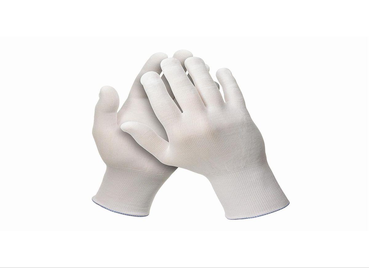 Перчатки хозяйственные Jackson Safety G35, размер 8 (M), цвет: белый, 120 шт21395599Универсальные эргономичные перчатки белого цвета из 100% нейлона категории I (CE Simple) с максимальной тактильной чувствительностью для обнаружения мельчайших дефектов поверхности. Идеальное решение для автомобильной и авиационной промышленности для точных задач и лакокрасочных работ, где требуется безворсовый продукт, без наличия силикона в его составе. Отсутствие швов снижает риск возникновения раздражения на коже пользователя, а также повышает уровень воздухопроницаемости. Не является средством индивидуальной защиты.Единый дизайн для обеих рук, в наличии пять размеров, цветовая кодировка манжет для идентификации размера; двойная полиэтиленовая упаковка, которая минимизирует риск загрязнения продукта.Размеры:38716 - 6 (XS)38717 - 7 (S)38718 - 8 (M)38719 - 9 (L)38720 - 10 (XL)