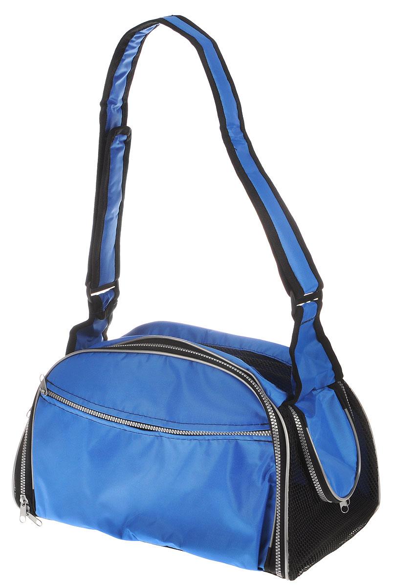 Сумка-переноска для животных Elite Valley, с отверстием для головы, цвет: светло-синий, черный, 40 х 24 х 25 см0120710Текстильная сумка Elite Valley предназначена для собак мелких пород и кошек. Изделие закрывается на застежку-молнию. Для удобной переноски предусмотрена удобная ручка. С внешней стороны имеется два кармана на молнии. Также сумка оснащена отверстием для головы животного, закрывающимся на молнию.Сумка-переноска Elite Valley обязательно понравится вашему домашнемулюбимцу.