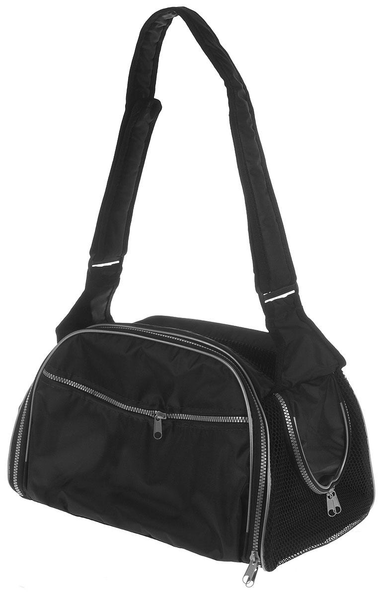 Сумка-переноска для животных Elite Valley, с отверстием для головы, цвет: черный, 40 х 24 х 25 см21395599Текстильная сумка Elite Valley предназначена для собак мелких пород и кошек. Изделие закрывается на застежку-молнию. Для удобной переноски предусмотрена удобная ручка. С внешней стороны имеется два кармана на молнии. Также сумка оснащена отверстием для головы животного, закрывающимся на молнию.Сумка-переноска Elite Valley обязательно понравится вашему домашнему любимцу.
