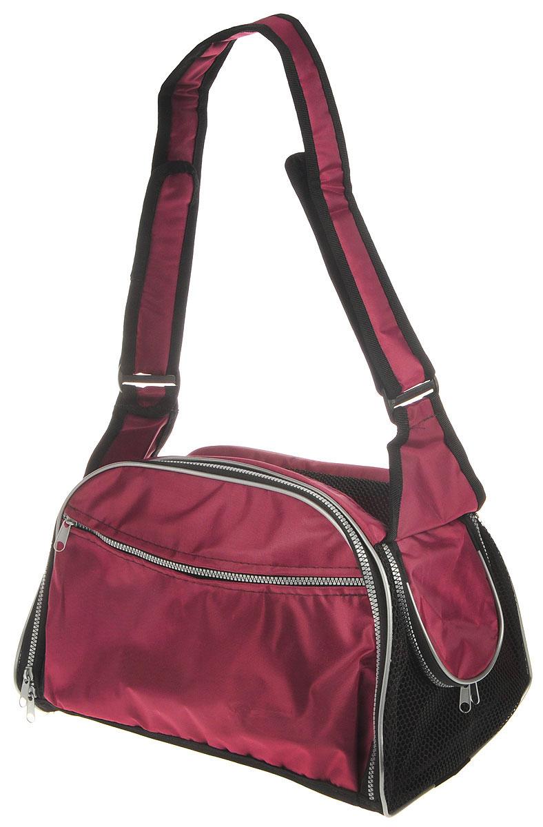 Сумка-переноска для животных Elite Valley, с отверстием для головы, цвет: бордовый, черный, 40 х 24 х 25 см0120710Текстильная сумка Elite Valley предназначена для собак мелких пород и кошек. Изделие закрывается на застежку-молнию. Для удобной переноски предусмотрена удобная ручка. С внешней стороны имеется два кармана на молнии. Также сумка оснащена отверстием для головы животного, закрывающимся на молнию.Сумка-переноска Elite Valley обязательно понравится вашему домашнемулюбимцу.