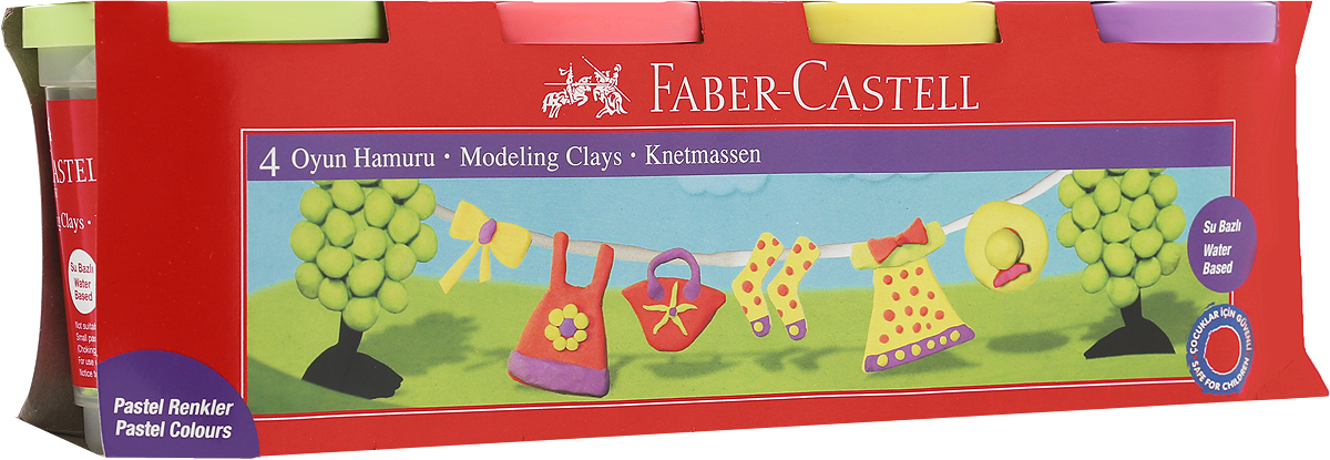 Faber-Castell Пластилин 4 цвета 12004524416_черный, синий, красный, желтыйВ наборе Faber-Castell находятся 4 баночки с пластилином 4 разных цветов.Пластилин обладает яркими неоновыми цветами, безопасен при использовании и изготовлен на водной основе. Он имеет мягкую и эластичную фактуру, не прилипает к рукам и не крошится.Набор пластилина откроет юным художникам новые горизонты для творчества, поможет отлично развить мелкую моторику рук, цветовое восприятие, фантазию и воображение.