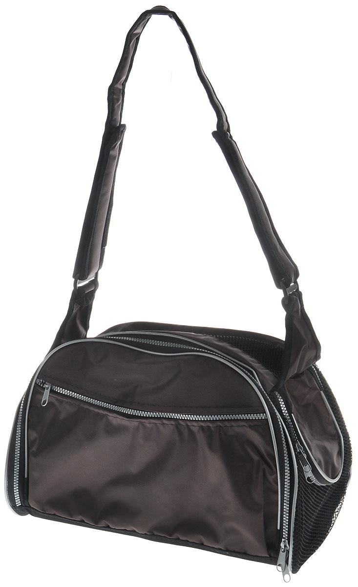 Сумка-переноска для животных Elite Valley, с отверстием для головы, цвет: темно-коричневый, черный, 40 х 24 х 25 см12171996Текстильная сумка Elite Valley предназначена для собак мелких пород и кошек. Изделие закрывается на застежку-молнию. Для удобной переноски предусмотрена удобная ручка. С внешней стороны имеется два кармана на молнии. Также сумка оснащена отверстием для головы животного, закрывающимся на молнию.Сумка-переноска Elite Valley обязательно понравится вашему домашнему любимцу.