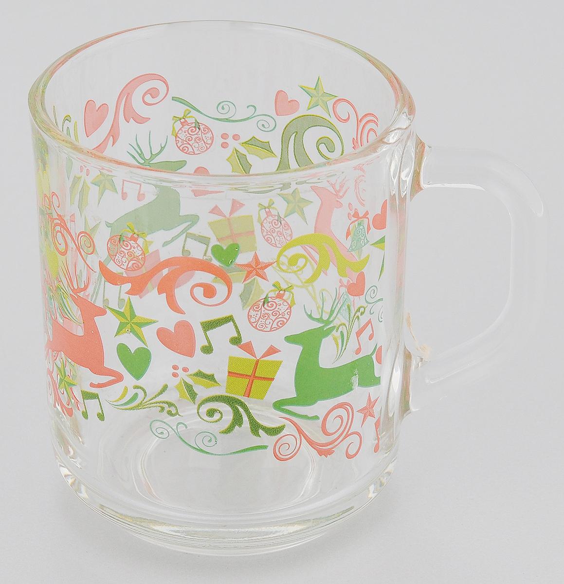 Кружка ОСЗ Green Tea. Олени и подарки, 200 мл54 009312Кружка ОСЗ Green Tea. Олени и подарки выполнена из высококачественного прозрачного стекла, которое изысканно блестит и переливается на свету.Внешняя стенка изделия декорирована изображением оленей. Такая кружка станет неизменным атрибутом чаепития и порадует вас классическим лаконичным дизайном и практичностью.